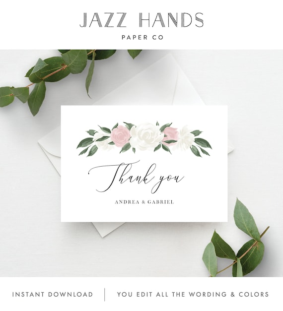 Napkin Blush Pink Thank You Card INSTANT DOWNLOAD Welcome Note Printable 5x7  IN037 Templett Thank you Note Eucalyptus Blush Floral