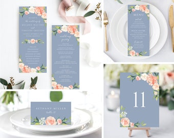 Printable Wedding Program Template, Ceremony Program, Dusty Blue Wedding, watercolor, Floral, menu, place cards, table numbers, 109