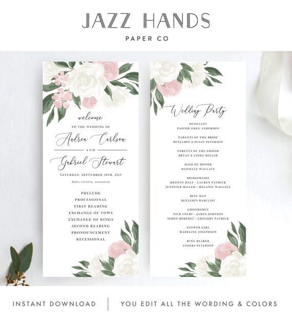 Blush Pink Floral Wedding Program Template Fully Editable Instant Download TRY BEFORE You BUY