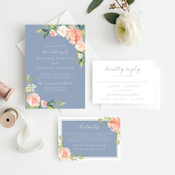Dusty Blue Wedding Invitations Dusty Blue Wedding Invitation Etsy
