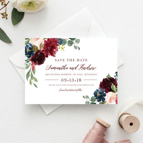 save the date template save the date cards marsala save the dates