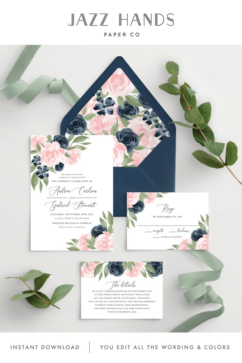 Wedding Invitation Template with Envelope Liners, Wedding Invitations,  Wedding Invitation Set, Wedding Invitation Suite, Floral Pink Navy