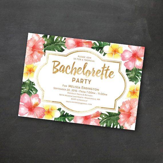 Tropical Printable Bachelorette Invitation Template Luau Party