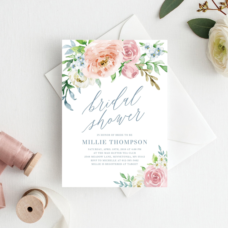 Floral Bridal Shower Invitation Template Printable Floral Bridal