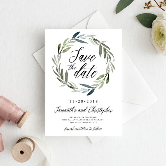 save the date template save the date cards greenery save the dates