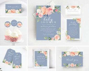 Dusty Blue Baby Shower Invitation, Printable Baby Shower Invitations, Baby Shower Invitation, Baby Shower Invitation Template, 109