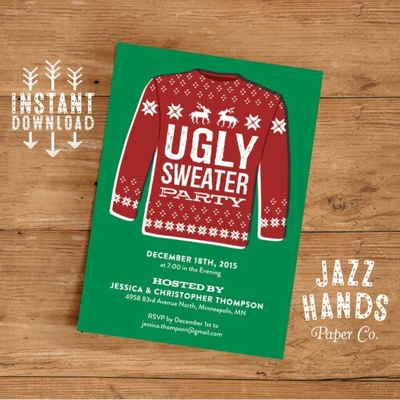 Ugly Sweater Invitation Template Diy Printable Holiday Party