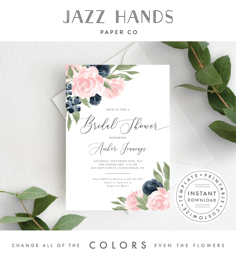 Bridal Shower Invitation template Blush Pink and Navy Floral image 0