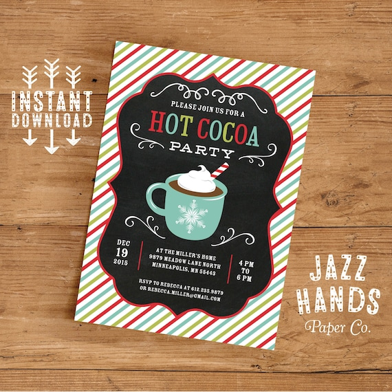 Hot Cocoa Party Invitation Template Diy Printable Hot Etsy