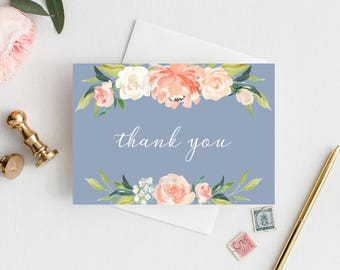 Dusty Blue Wedding Thank You Card, Note Card, Folded Card, Invitation Template, Spring Wedding, Pink, Blush, Coral, Blue, Blue, Floral, 109