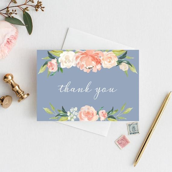 Dusty Blue Wedding Thank You Card Note Card Folded Card Etsy