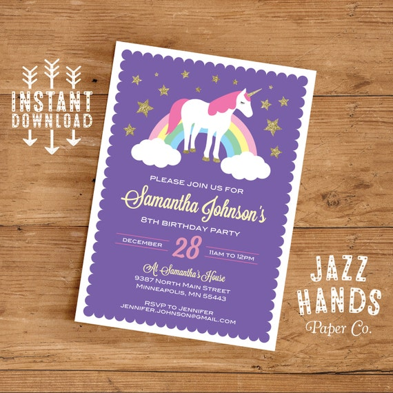Unicorn Birthday Invitation Template Diy Printable Unicorn Etsy