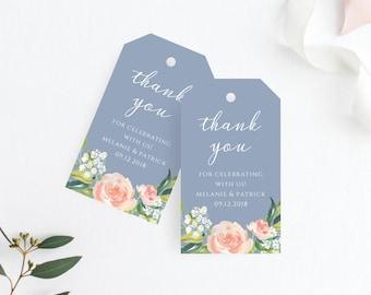 Thank You Tag, Wedding Thank You Tags, Gift Tags, Wedding Favor, Dusty Blue Wedding, Wedding Gift Tags, Printable Favor Tags, 109
