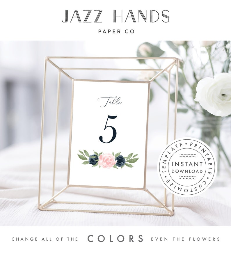Floral Navy and Blush Pink Table Number Template Table image 0
