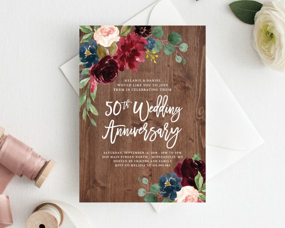 50th Anniversary Invitation Anniversary Invitations Template | Etsy
