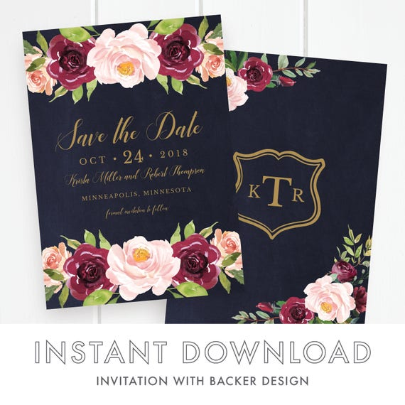 save the wedding date templates instant download editable save the