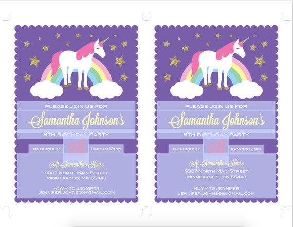 Unicorn birthday invitation template diy printable unicorn etsy 50 filmwisefo