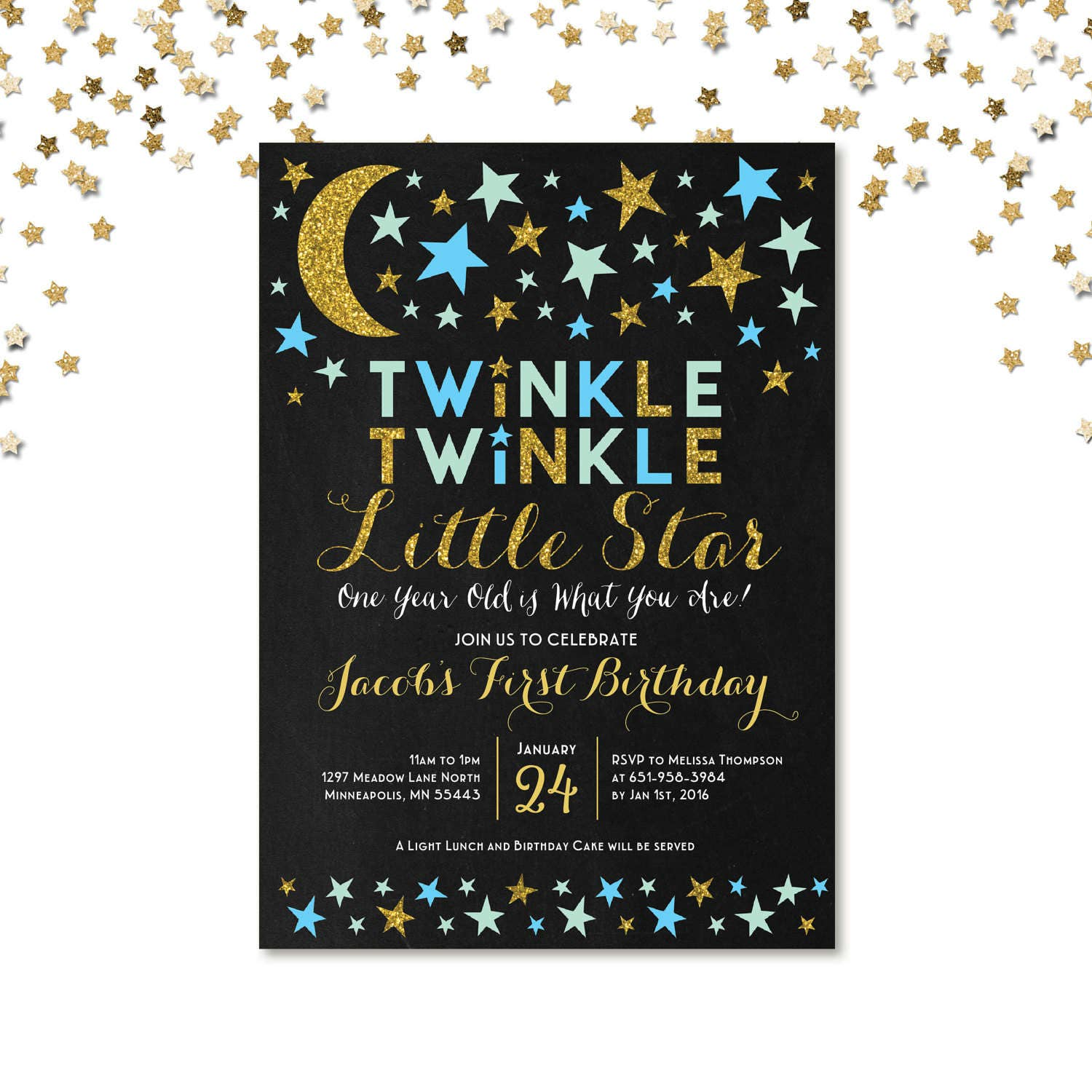 Twinkle Twinkle Little Star First Birthday Invitation Blue and Gold