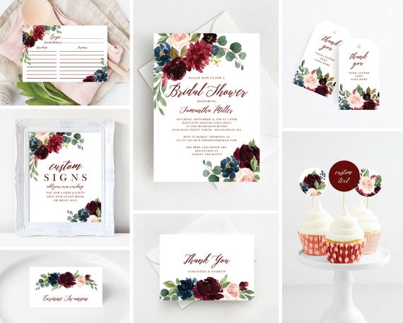 Marsala Burgundy Floral Bridal Shower Invitation Template Etsy
