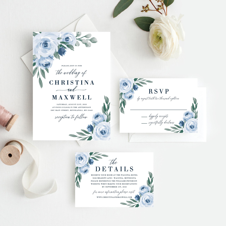 RSVP Template Editable Invitation Template Dusty Wedding Invitation Set Pink Flower Wedding Suite