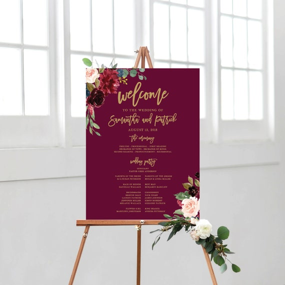 wedding program sign welcome wedding sign burgundy program etsy