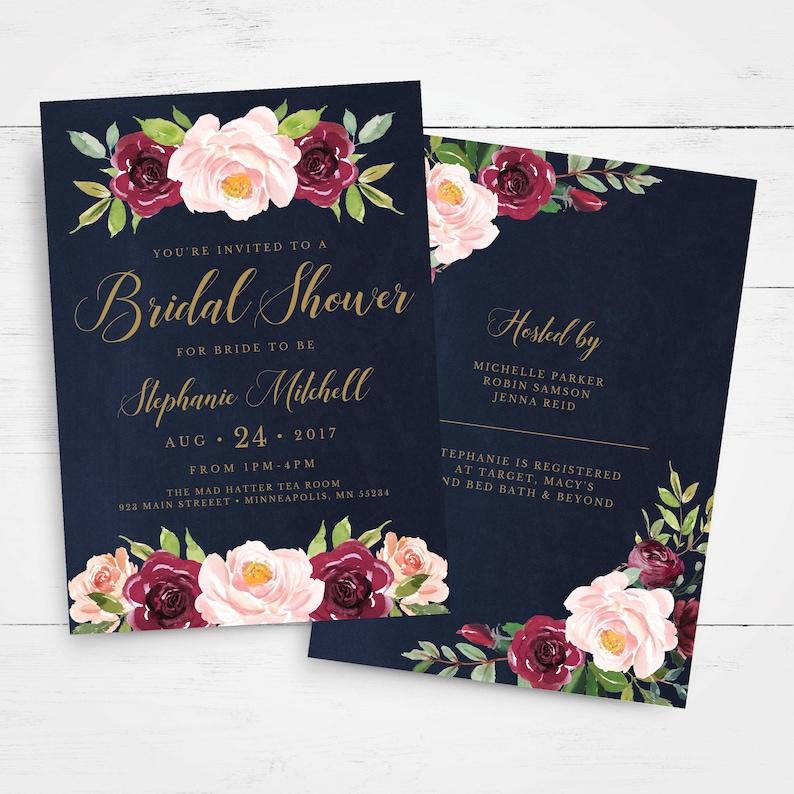 e0897da0243 Marsala Navy Bridal Shower Invitation INSTANT DOWNLOAD