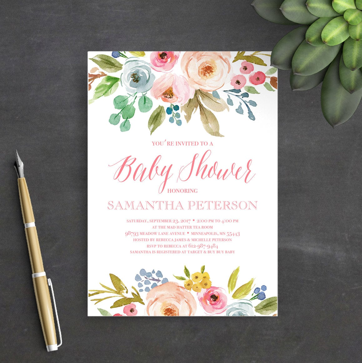 Printable baby shower invitation template instant download baby printable baby shower invitation template instant download baby shower invitation floral watercolor boho baby shower invites stopboris Images