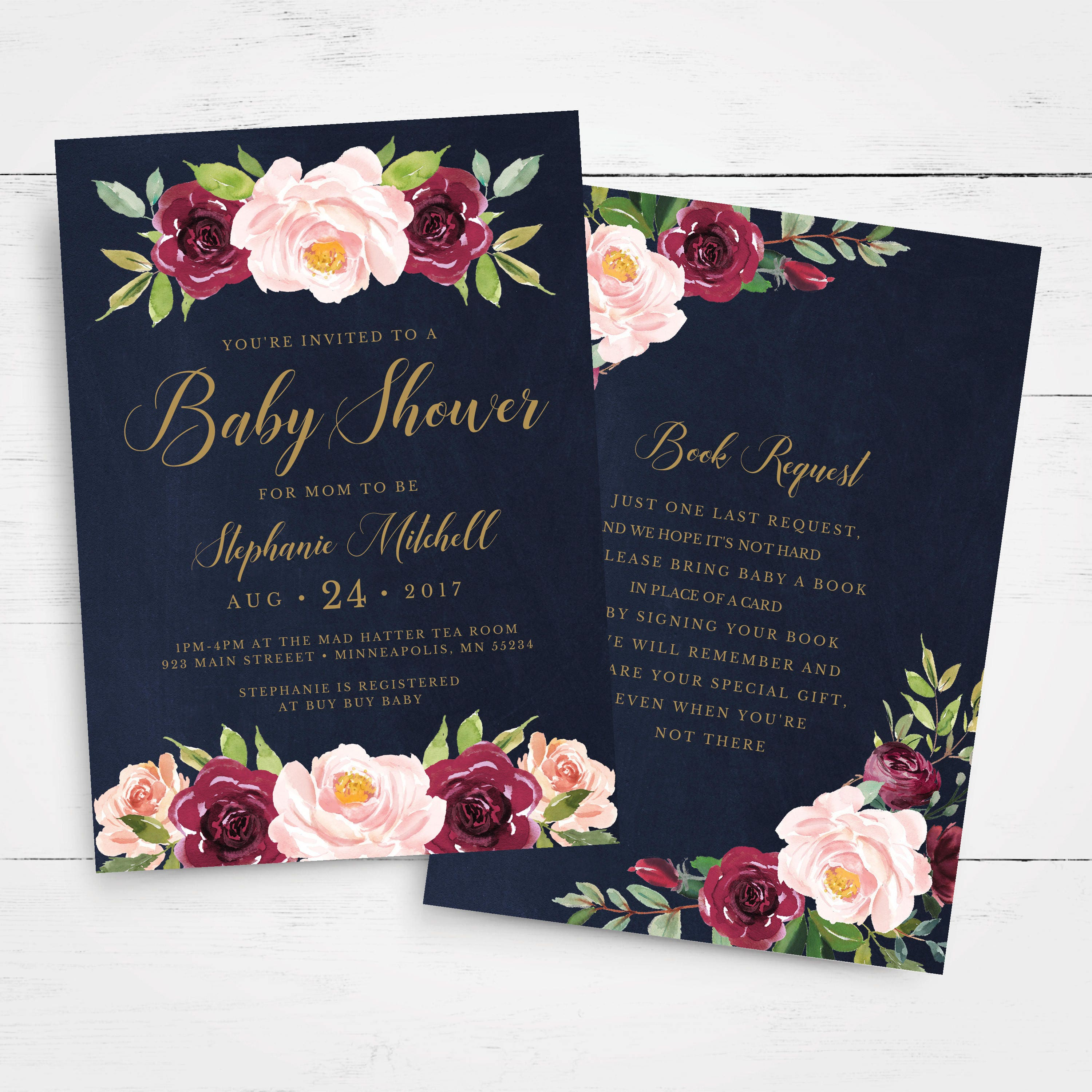Floral Baby Shower Invitation Template INSTANT DOWNLOAD