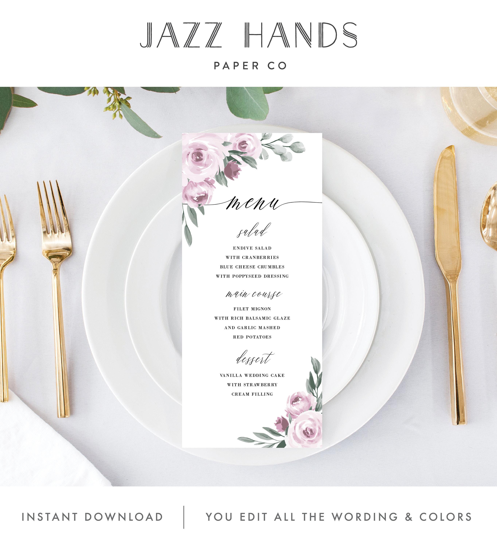 wedding menu template menu card menu cards printable
