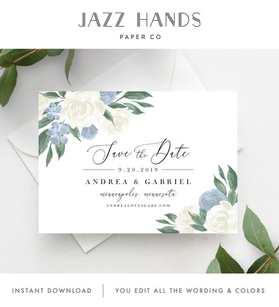 Guillemette 2 Save the Date Cards Calligraphy and Classy Save the Date Cards Printable template or Printed Card Save the date