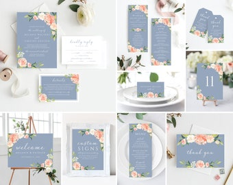 11 Piece Instant Download, Wedding Invitation Template Bundle Kit, Dusty Blue Wedding Invitations 109