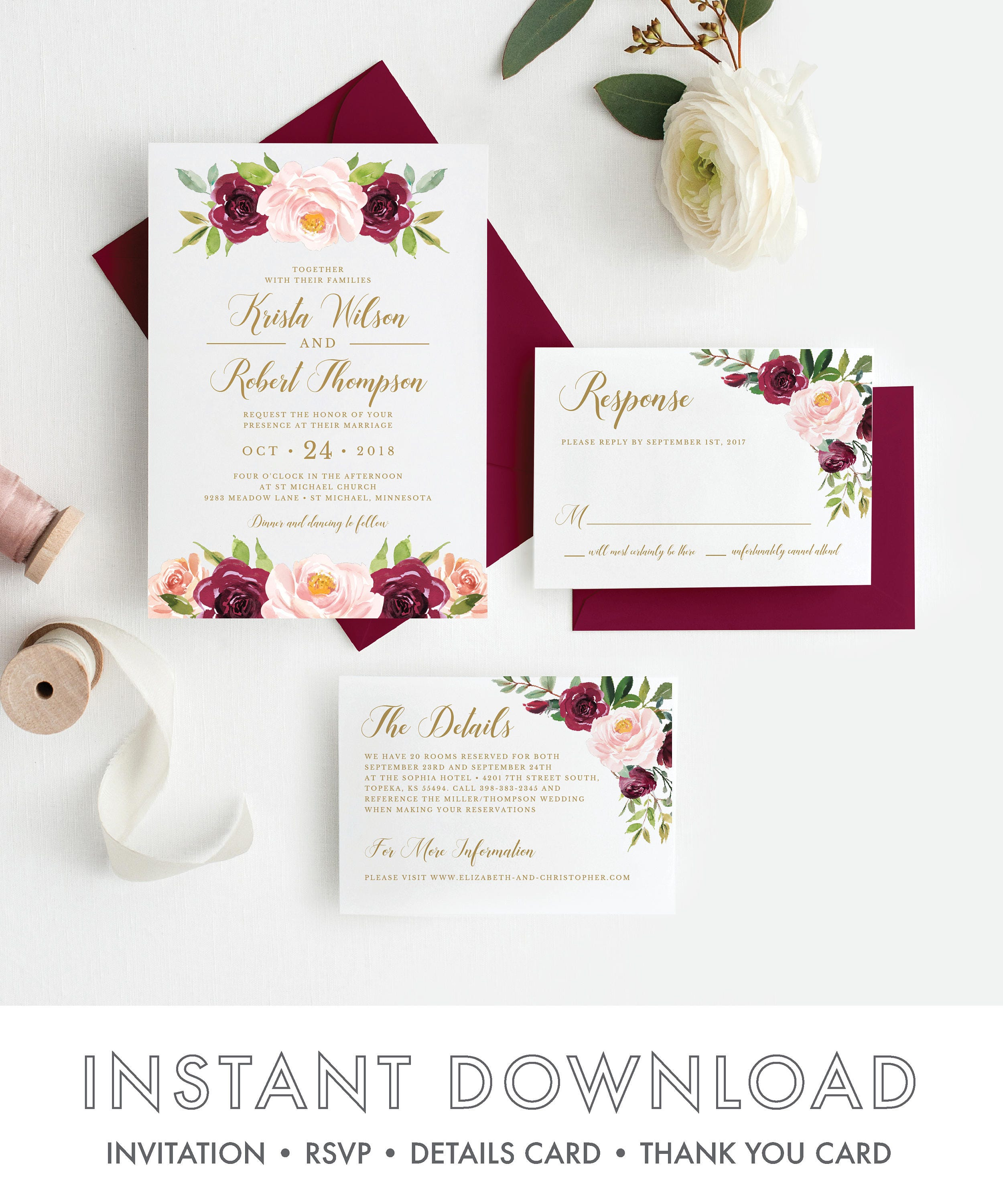 Burgundy Rustic Floral Wedding Invitation Invitation Suite Marsala