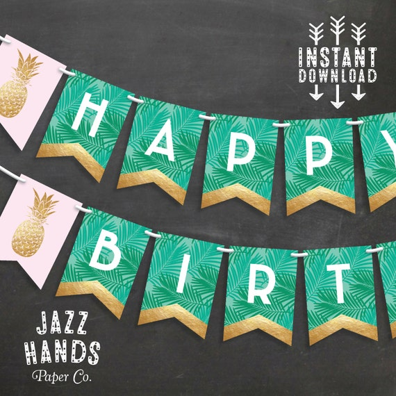 Tropical Happy Birthday Banner Diy Printable Pineapple Birthday