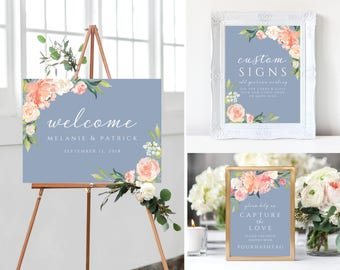 Welcome to our wedding signs, Wedding Signs, template, Dusty Blue Wedding, watercolor, Floral, Welcome Sign, Instagram, 109