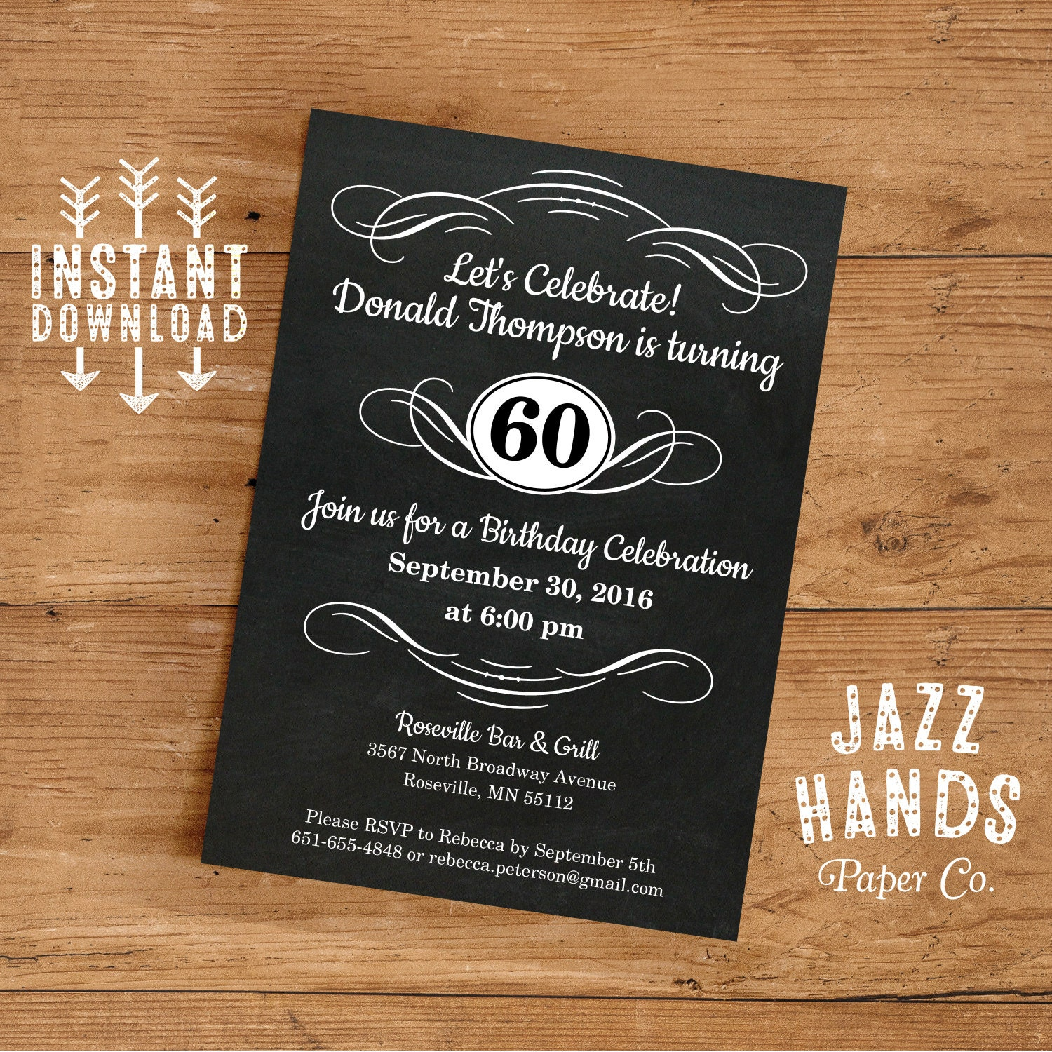 Vintage Adult Birthday Invitation Template DIY Printable ...