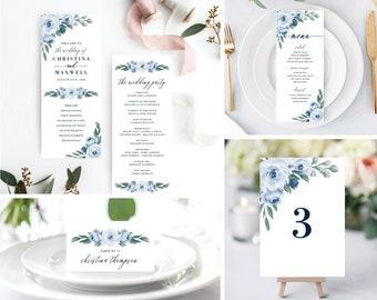 Wedding Program Template, Wedding Programs Template, Printable Wedding Program, Dusty Blue, Instant Download, Ceremony, Templett, 118