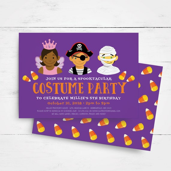 Halloween Birthday Invitation Template Kids Party Costume Invitations Girl Boy