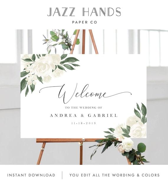 Templett #1012 Printable Editable Wedding Template Welcome Directional Arrow Event Sign 24x36 Organic Calligraphy 18x24 20x30
