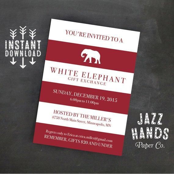 White Elephant Invitation Template Diy Printable White Etsy