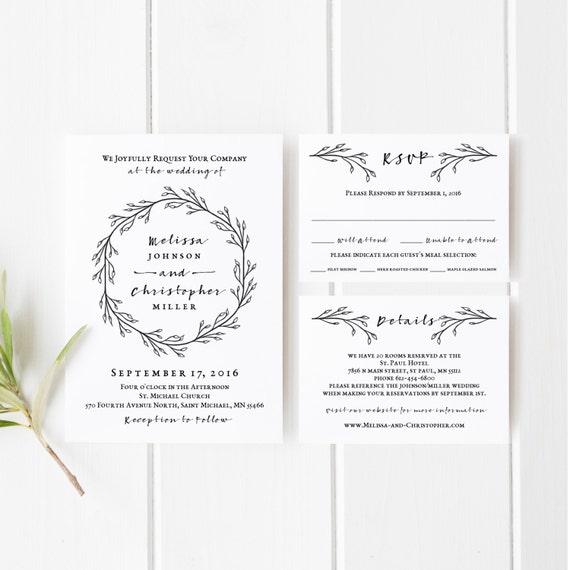 Printable Wedding Invitation Template Set Black And White Wedding