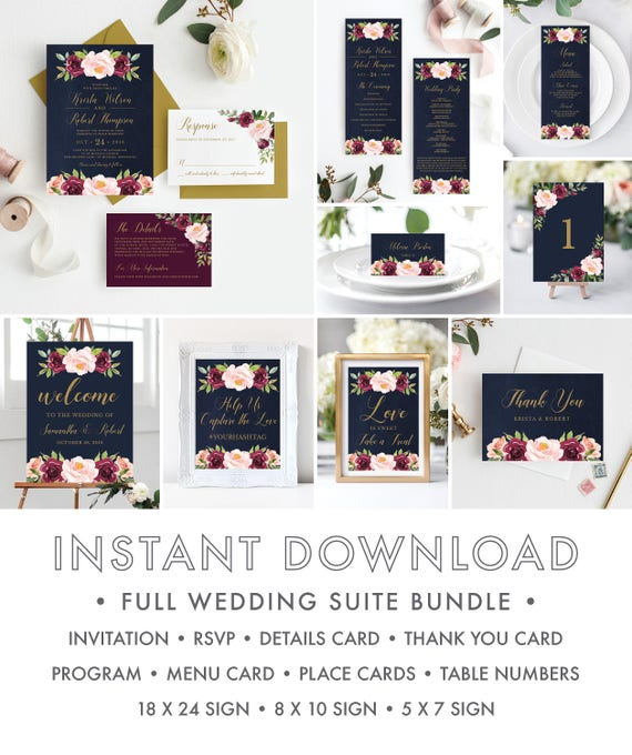 11 Piece Instant Download Wedding Invitation Template Kit