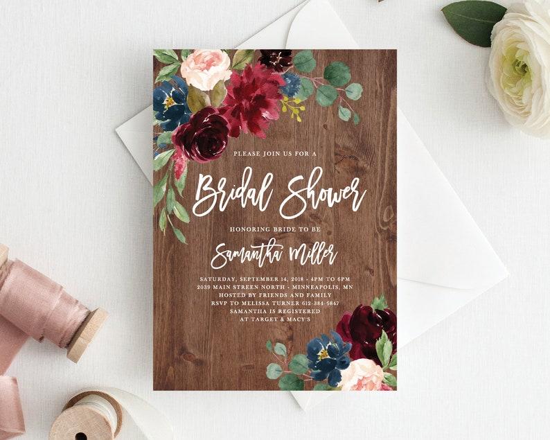 6e17f241a3f Bridal Shower Invitation Template Marsala Navy Bridal Shower