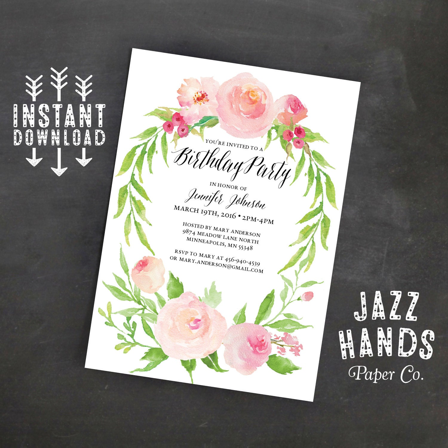 Printable Birthday Invitation Template Instant Download   Etsy