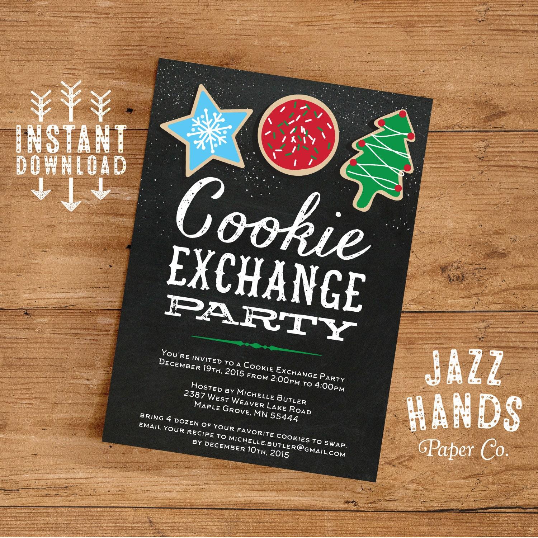 Cookie Exchange Invitations Template | DIY Printable | Cookie ...