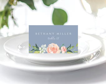 Place Card, Name Card, Printable Place Card, Wedding Place Card, Escort Card, Instant Download, Template, Dusty Blue, Floral, 109