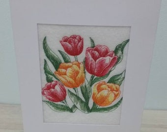 Floral Birthday Anniversary Card Blank Greetings card - Embroidered Gift
