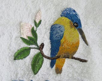 Personalised Embroidered Kingfisher Bird Hand or Bath Towel