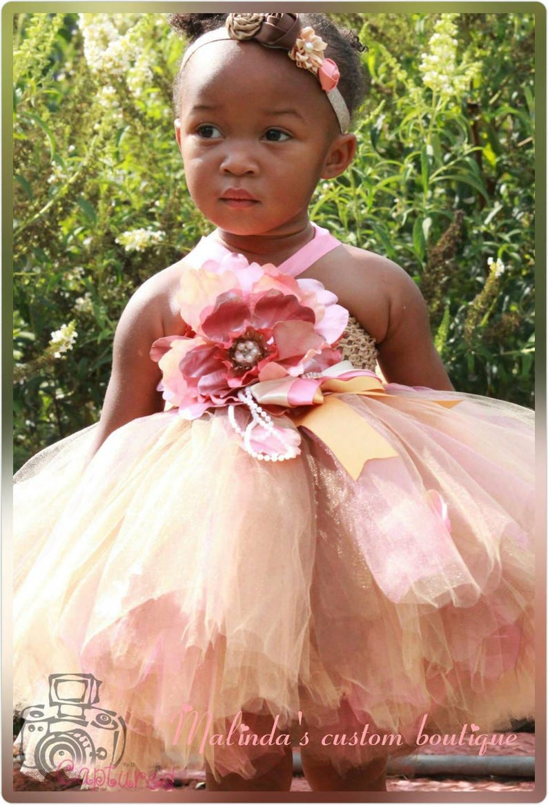 Pink Cream And Brown Flower Girl Dress With Match Headpiece Etsy