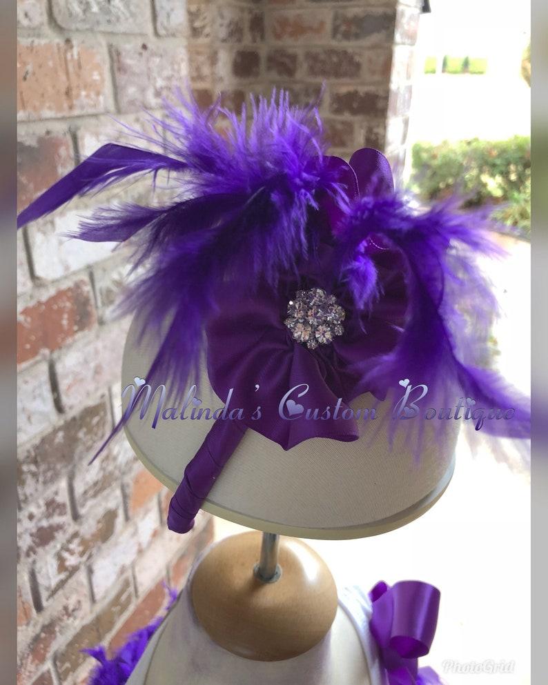 Purple fluffy feather jewel tutu set