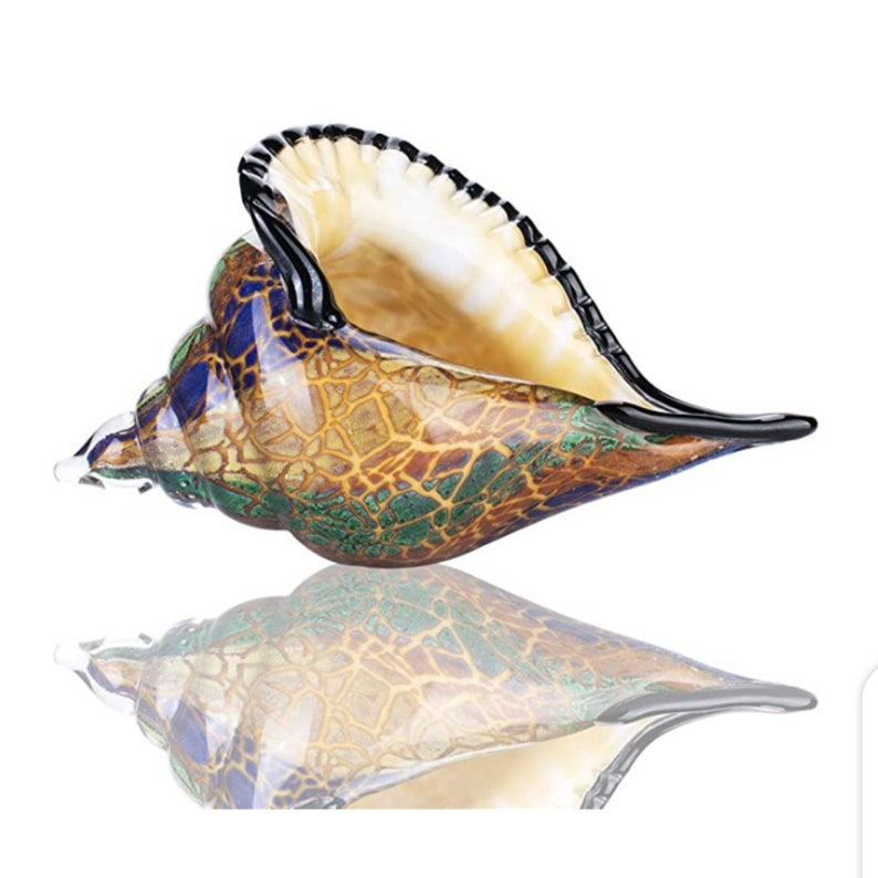 Glass Art Seashell Christmas Ornament Hand Blown  Sea Shell Sculpture Home Decoration Wedding Ornament Figurine  Decor Collectible Statue